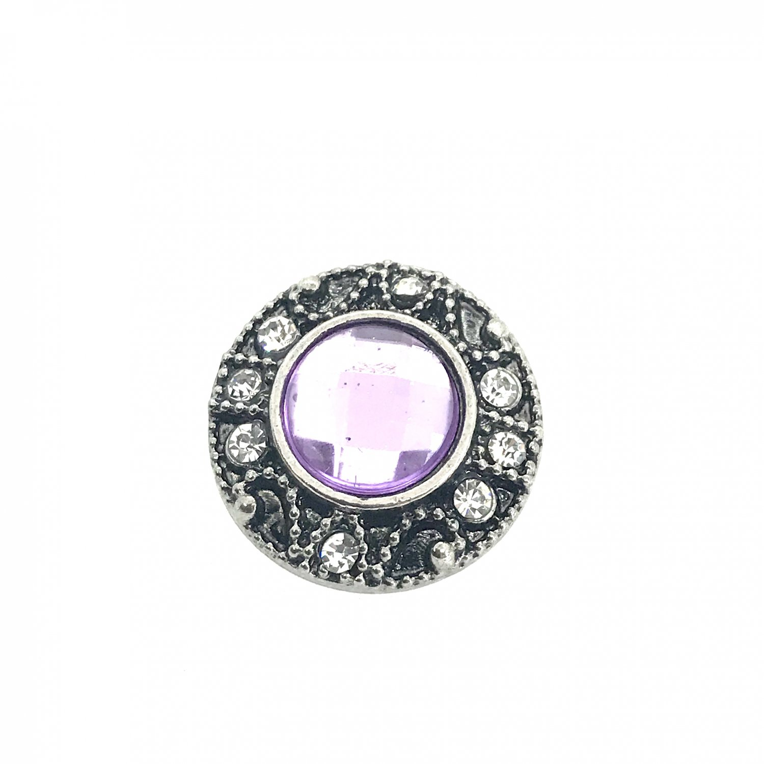 Snap 20mm  Flower pink crystals