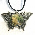 Butterfly necklace Hand Painted 20mm Birthday Mother Valentines Gift