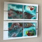 teal white Abstract Painting  Art  Acrylic ORIGINAL  Wall Art Hangings 8x8x0.75