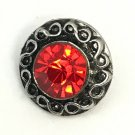 Rhinestone Mini snap button 12mm ginger snap Jewelry Fast Shipping Round Red
