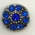 Rhinestone Mini snap button 12mm ginger snap Jewelry Fast Shipping Flower Blue