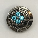 Rhinestone Mini snap button Spider Web teal blue 12mm ginger snap Jewelry Fast Shipping