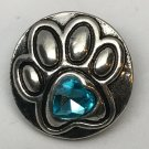 Pet Dog Cat Paw Blue Snap Charm Fit 18-20mm Gingersnaps Jewelry snap