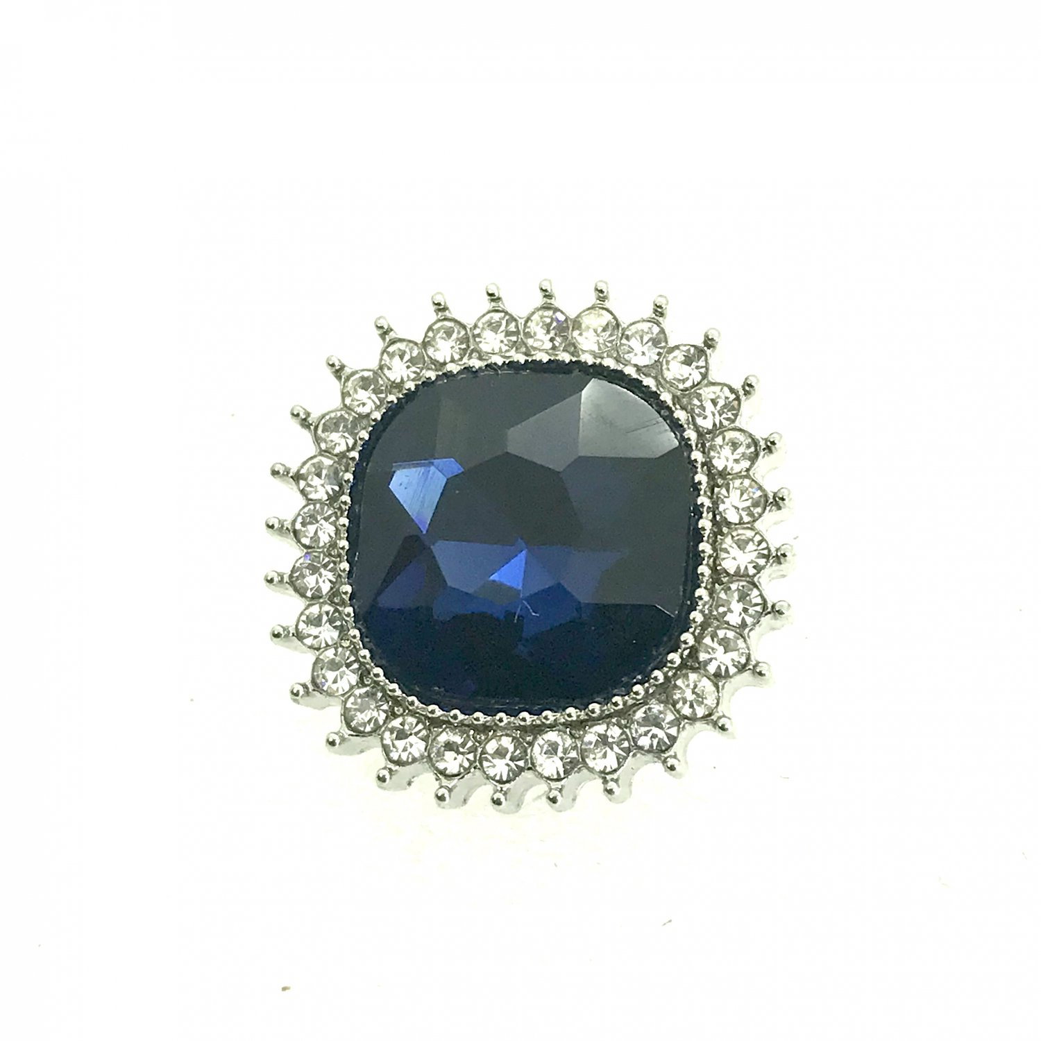 Snap 20mm  Blue square crystals