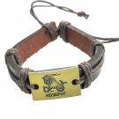 Capricorn Horoscope leather bracelet braided metallic details zodiac  brown