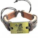 Virgo  Horoscope leather bracelet metal details zodiac  brown