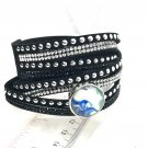 Wrap Bracelet For Snap 18-20mm Adjustable Crystal Embellishments Fast Shipping