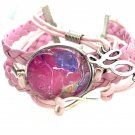 Bracelet leather with charms handmade dome 25mm lobster closer