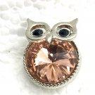 Snap 20mm Owl  peach  crystals