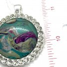 Round large Pendant Hand Painted Statement art Great Gift