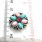 Snap 20mm  Flower blue and pink crystals