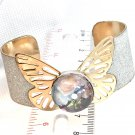 Bangle Cuff Bracelet handmade 20mm snap butterfly