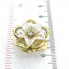 Snap 20mm  gold and white colors flower crystals