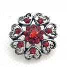 Snap 20mm Heart flower red crystal
