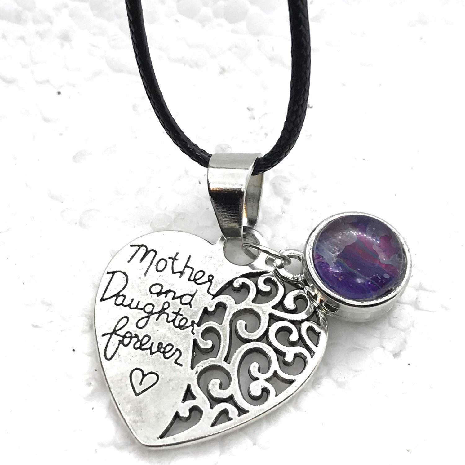 Heart Snap Pendant Hand Painted Mini 12mm Mother Daughter heart forever love