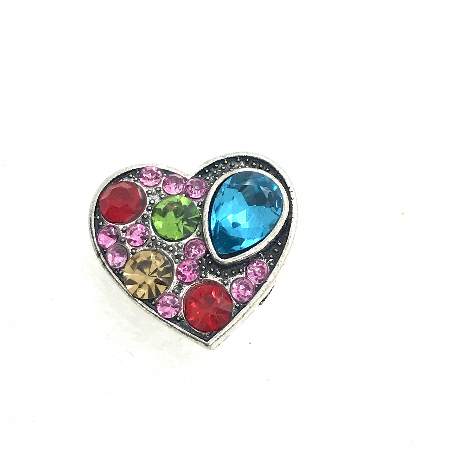 Snap 20mm  multiple color crystals heart