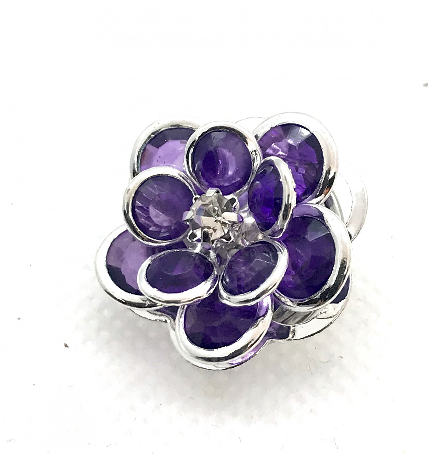 Snap 20mm  Flower purple and silver