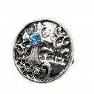 Rhinestone Mini snap button 12mm gingersnap Blue crystal Cross  Jewelry Fast Shipping