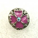 Rhinestone Mini snap button 12mm gingersnap   pink & Clear Floral