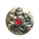 Rhinestone Mini snap button 12mm gingersnap   Snowflake Red