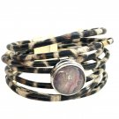 Leather bracelet Hand Painted Ginger snaps Buttons 18-20mm Fast Shipping