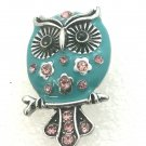 Snap 20mm Owl teal blue pink crystals