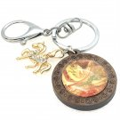 Handmade dome keychain charms Gold horse