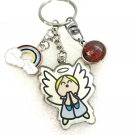 Handmade double dome keychain Angel rainbow charm