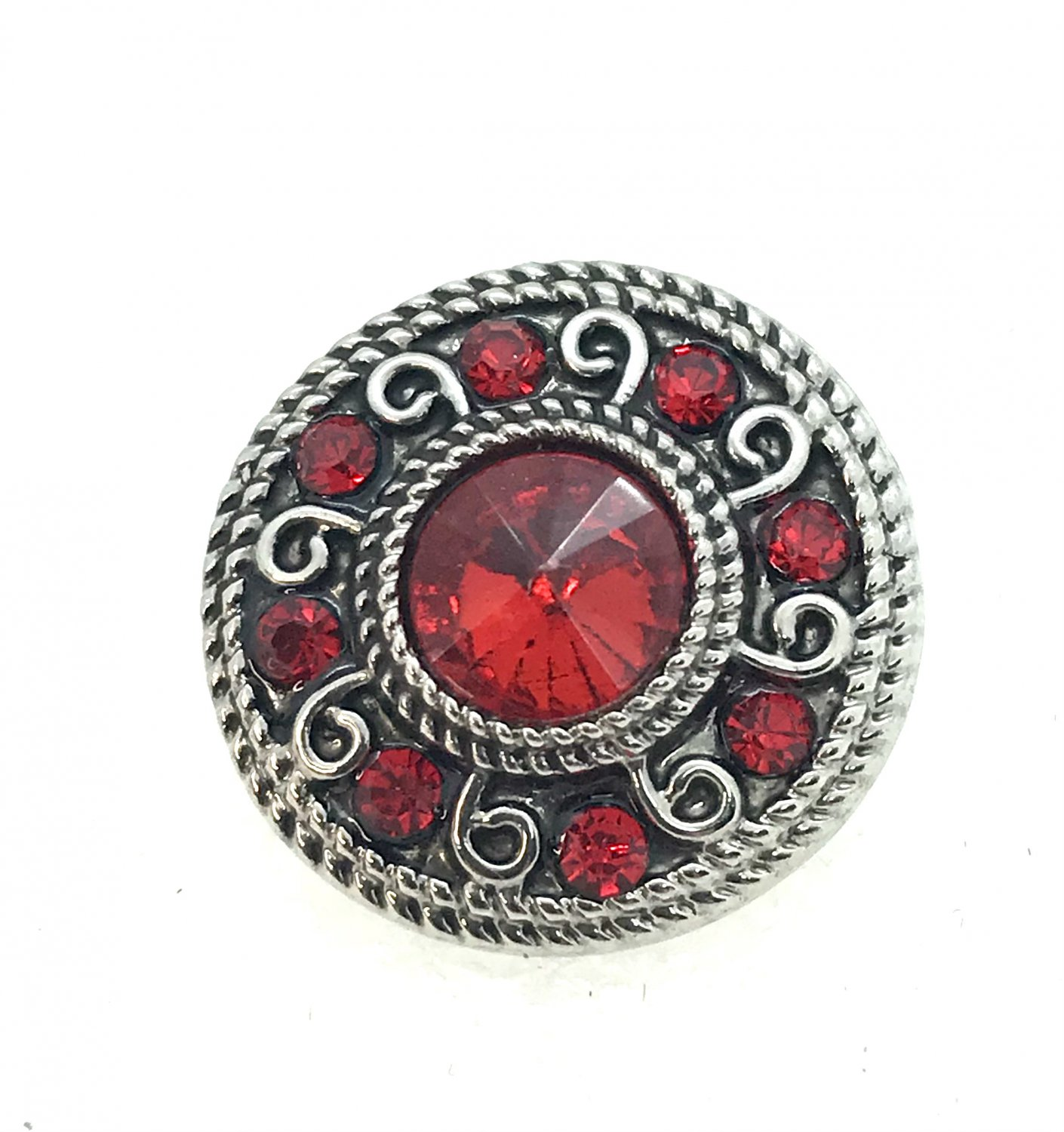 Snap 20mm  Flower red crystals gingersnaps