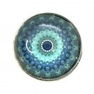 Mandala #12 teal Snap Charm Fit 18-20mm Gingersnaps Jewelry snap button Fast Ship