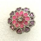 Snap 20mm  Flower pink crystals gingersnaps