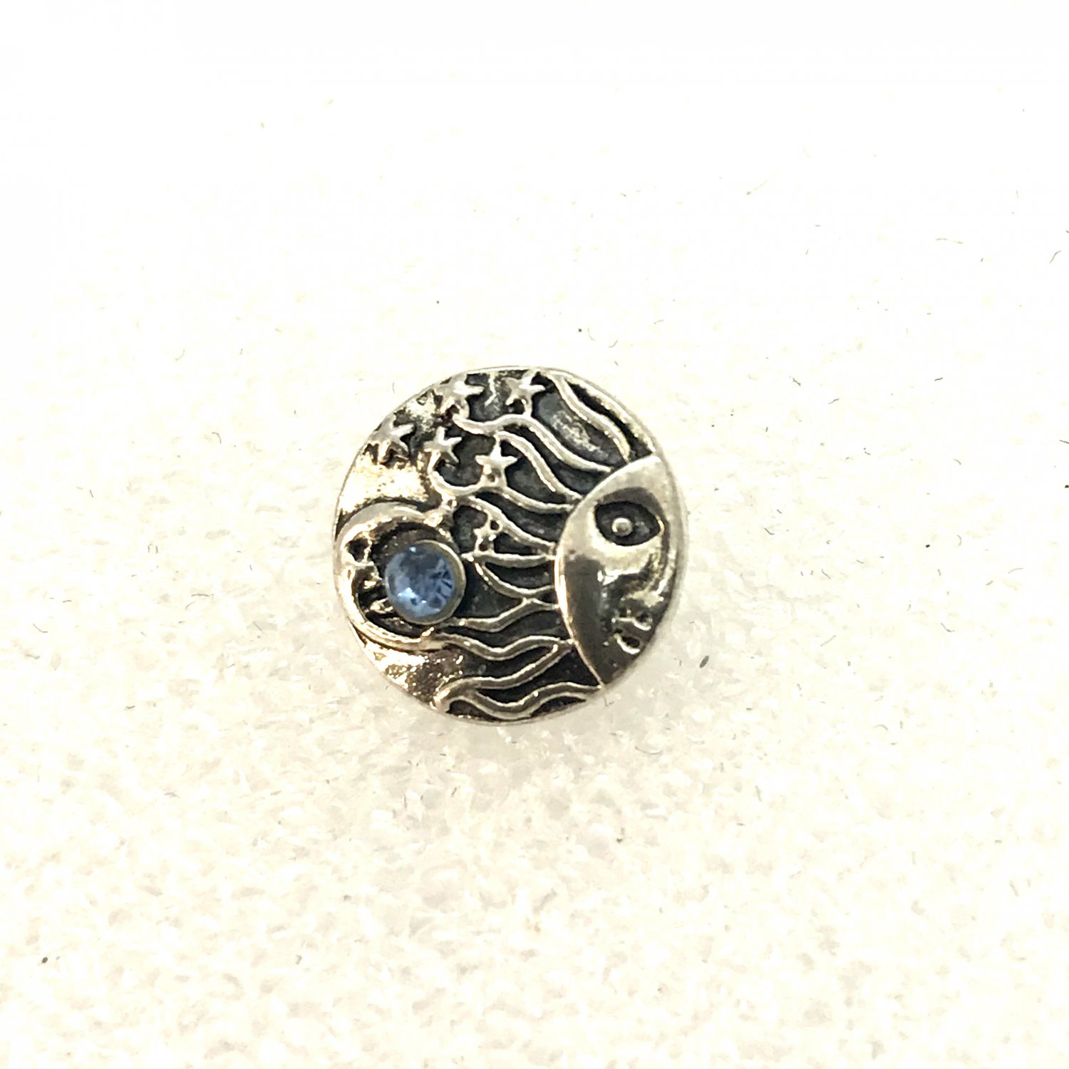 Rhinestone Mini snap button blue sun moon  crystal  12mm ginger snap  Jewelry Fast Shipping