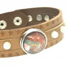 Leather Snap Bracelet handmade snap 18mm adjustable