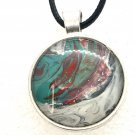 Pendant Hand Painted round 25mm teal