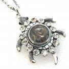 Turtle Rhinestones Pendant Necklace 18mm Snap Jewelry