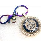 Handmade keychain  New Orleans Saints rhinestones