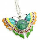 Butterfly Pendant Necklace 18mm Snap Jewelry Stainless Steel Chain Fast Shipping
