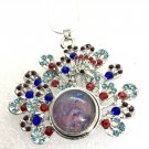 Peacock Pendant 20mm handmade Snap  Necklace  18mm Snap Jewelry