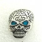 Snap 20mm blue crystal skull