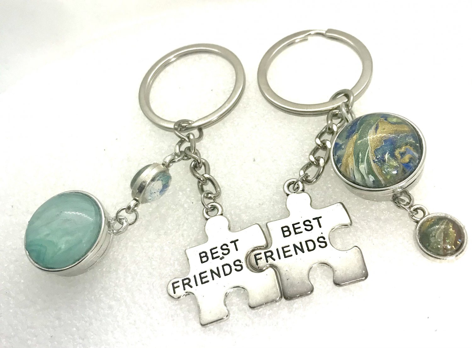 Handmade pair of Keychains Best Friends with charms and 20mm snaps