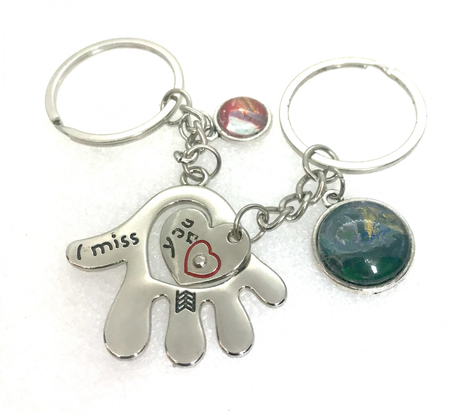 Handmade pair of Keychains I miss you with charms