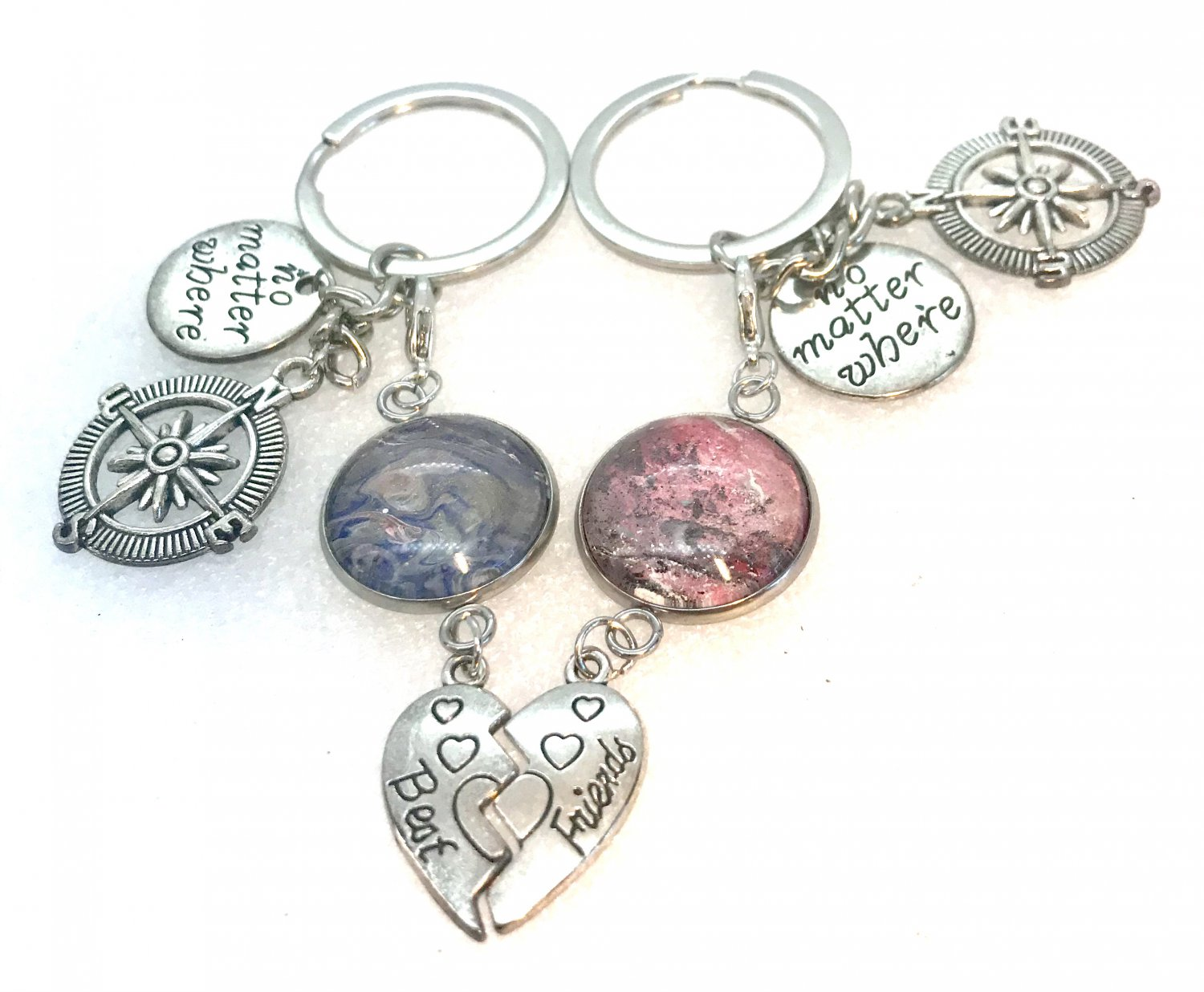 Handmade pair of Keychains Best Friends no matter where with charms