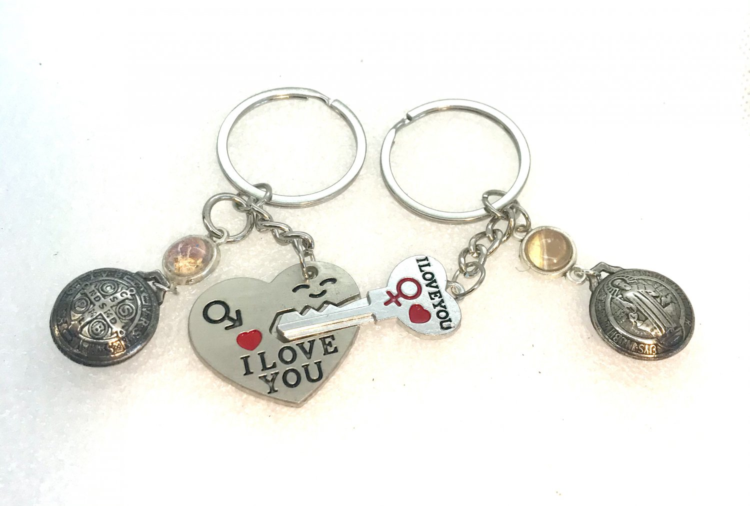 Handmade pair of Keychains I love you with charms
