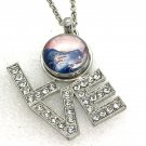 Love Pendant Necklace 18mm Snap Jewelry Stainless Steel Chain Fast Shipping