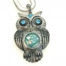 Owl Pendant Necklace 18mm Snap Jewelry Stainless  Steel Chain Fast Shipping