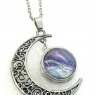 Crescent Moon Pendant Necklace 18mm Snap Jewelry Stainless Steel Chain Fast Shipping