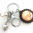 Handmade dome keychain charms Cat love