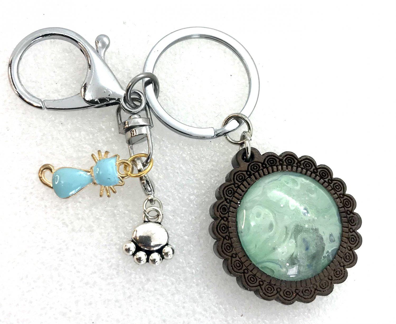 Handmade dome keychain charms Cat love