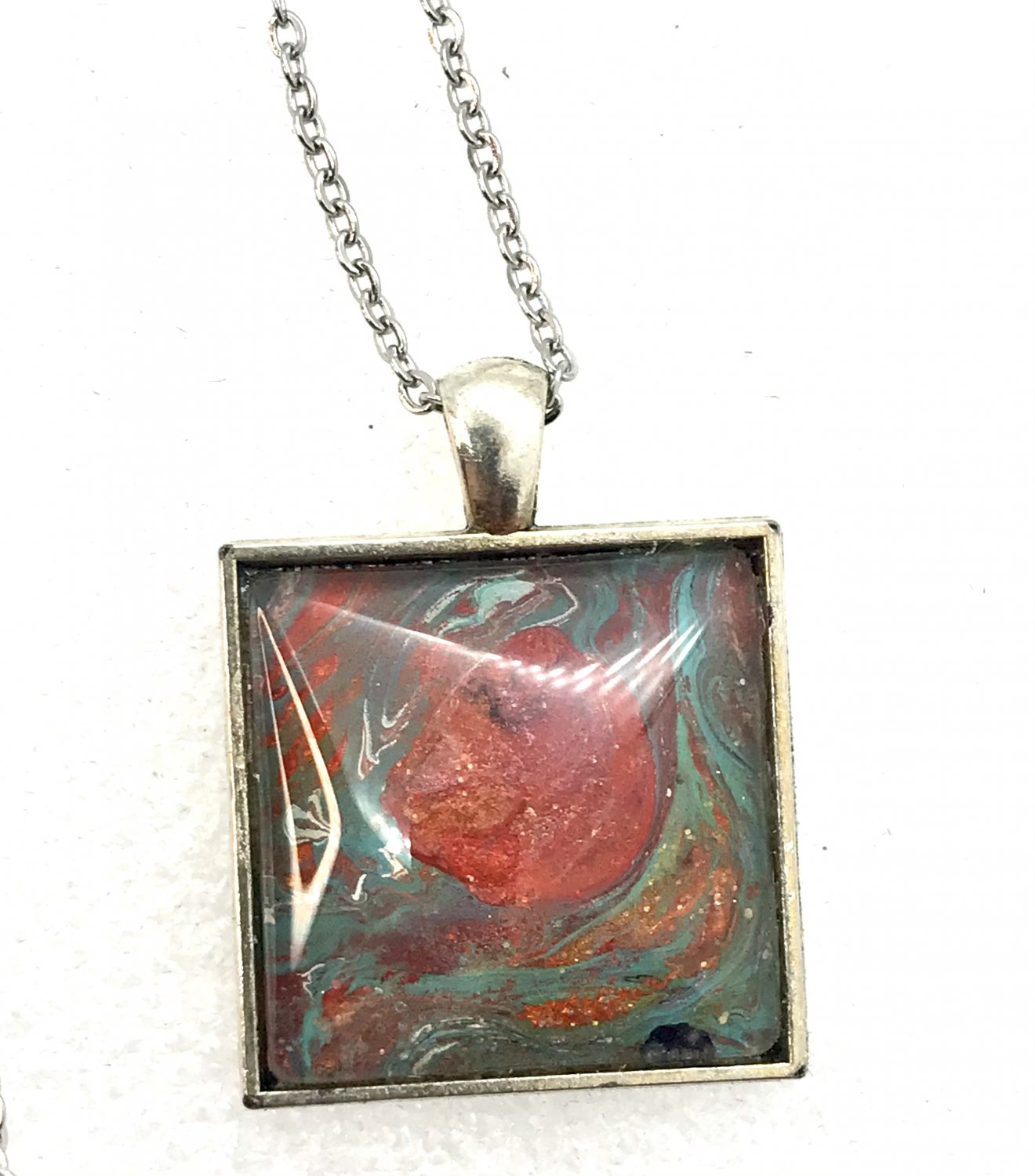 Pendant Hand Painted square 25mm