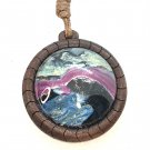 Leather cord round wood Pendant Hand Painted art Great Birthday Mother Valentines Gift